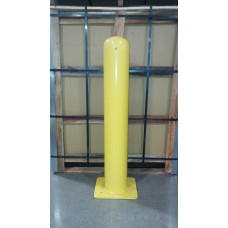 "Bolt Down Bollard DENTED 6""x42"" with Yellow/Red Bollard Cover"